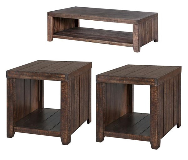 Caitlyn Transitional Natural Wood Coffee Table Set MG-T2528