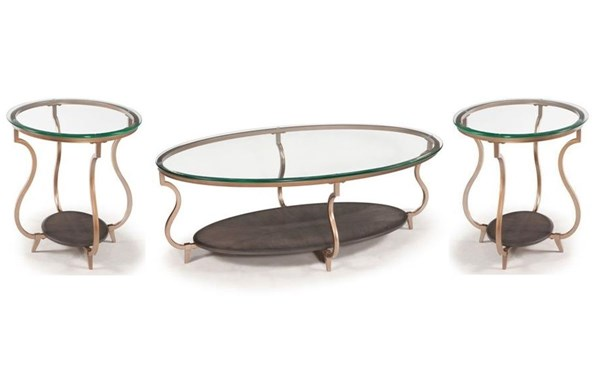 Rachel Opulence Antique Gold Metal Glass 3pc Coffee Table Set MG-T2533-OCT-S1