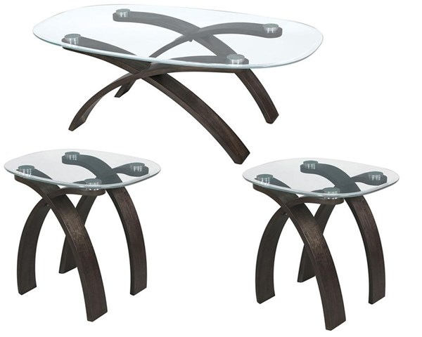 Forum Modern Platinum Wood Glass Coffee Table Set MG-T2545