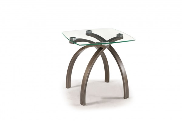 Frisco Modern Brushed Bronze Metal Glass Square End Table MG-T2700-01