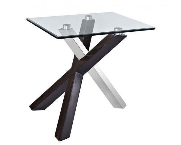 Verge Casual Deep Espresso Wood Glass Rectangular End Table MG-T2775-03