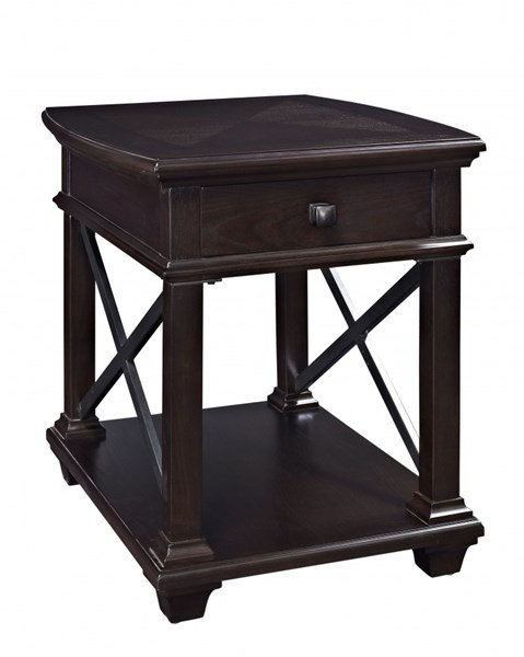 Sorrento Traditional Deep Walnut Wood Rectangular End Table MG-T2778-03