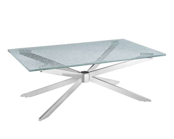 Quazar Modern Metal Rectangular 13mm Crackle Glass Cocktail Table MG-T2780-43