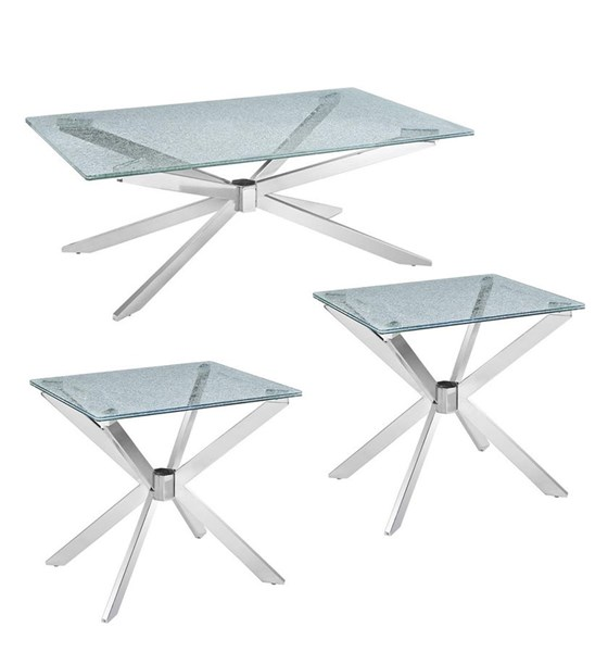 Quazar Modern Metal  Rectangular Crackle Glass 3pc Coffee Table Set MG-T2780-OCT-S1