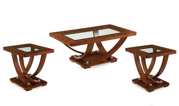 Pavilion Modern Medium Brown Wood Glass Coffee Table Set MG-T2908