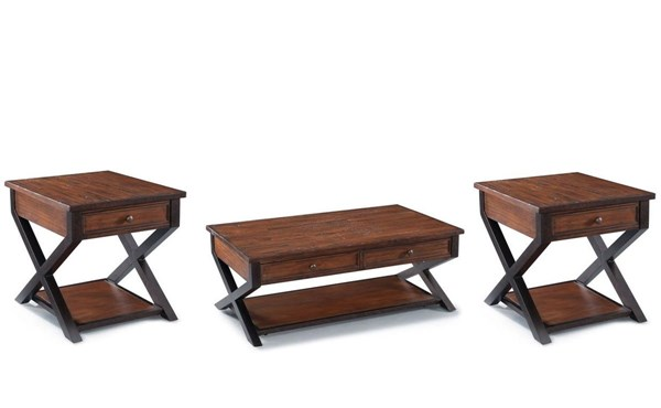 Lucerne Transitional Cinnamon Wood 3pc Coffee Table Set MG-T2981-OCT-S1