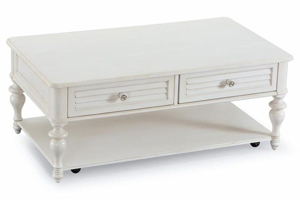 Curran Casual White MDF Wood Casters Rectangular Cocktail Table MG-T3008-43