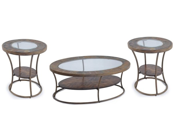 Desoto Transitional Slate Wood MDF Metal Glass 3pc Coffee Table Set MG-T3048-OCT-S1