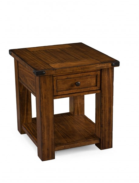 Parker Lane Cottage Distressed Natural Pine Wood Rectangular End Table MG-T3050-03