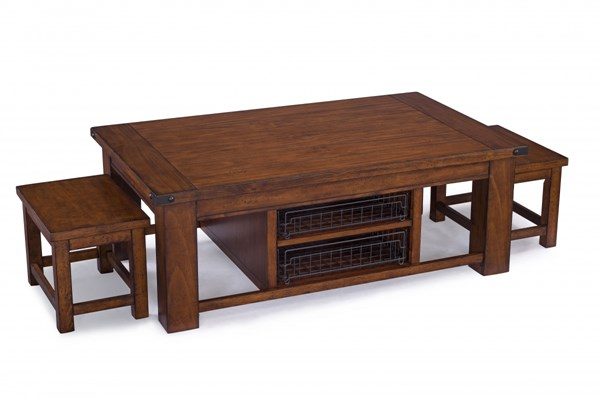 Parker Lane Pine Wood Rectangular Cocktail Table w/Casters & 2 Stools MG-T3050-43
