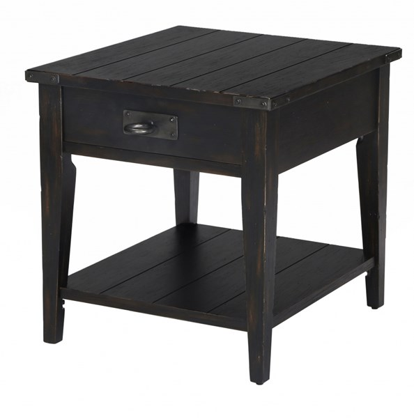 Sheffield Transitional Antique Black Wood Rectangular End Table MG-T3165-03