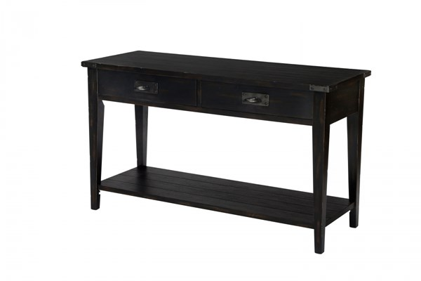 Sheffield Transitional Antique Black Wood Rectangular Sofa Table MG-T3165-73