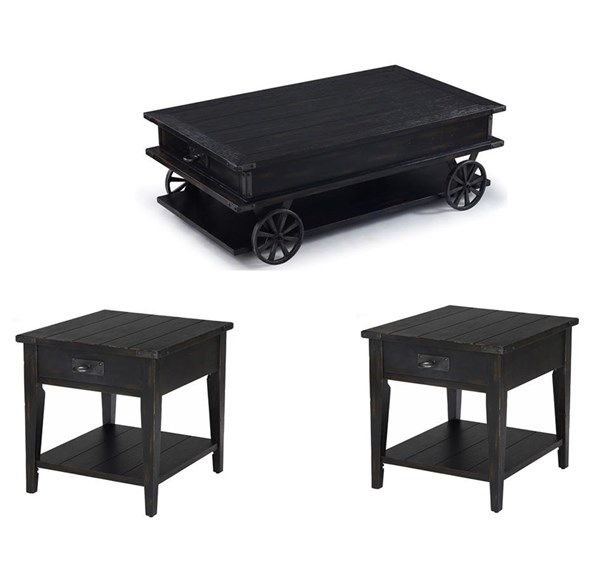 Sheffield Transitional Antique Black Wood 3pc Coffee Table Set MG-T3165-OCT-S1