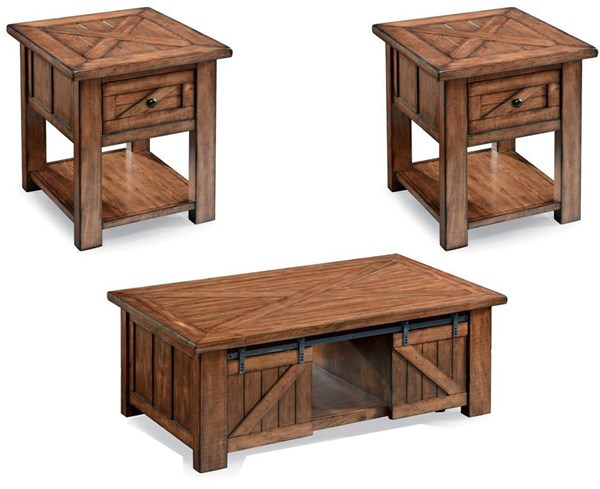 Harper Farm Rustic Warm Pine Wood Metal 3pc Coffee Table Set MG-T3269-OCT-S1