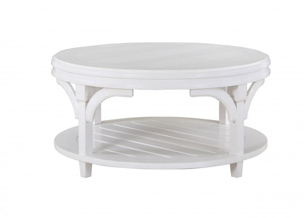 Boathouse Coastal/Cottage White Wood Round Cocktail Table w/Casters MG-T3271-45