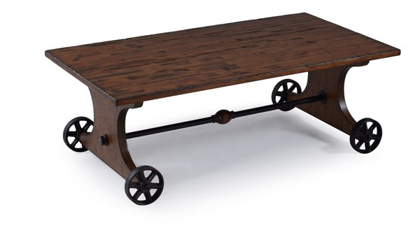 Mandy Cottage Distressed Natural Pine Wood Rectangular Cocktail Table MG-T3299-43