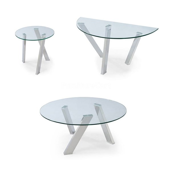 Prism Casual Metal Glass Round Coffee Table Set MG-T3365