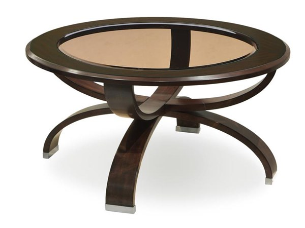 Deco Modern Cappuccino Wood Glass Round Cocktail Table MG-T3491-45