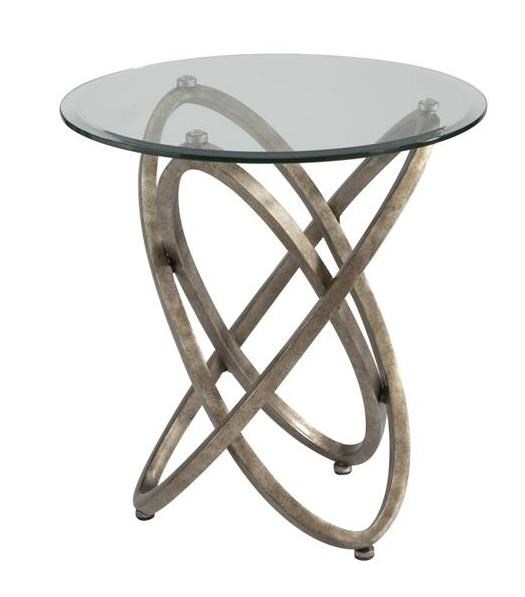 Escala Modern Champagne Metal Glass Round End Table MG-T3494-05