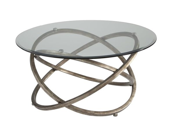 Escala Modern Champagne Metal Glass Round Cocktail Table MG-T3494-45