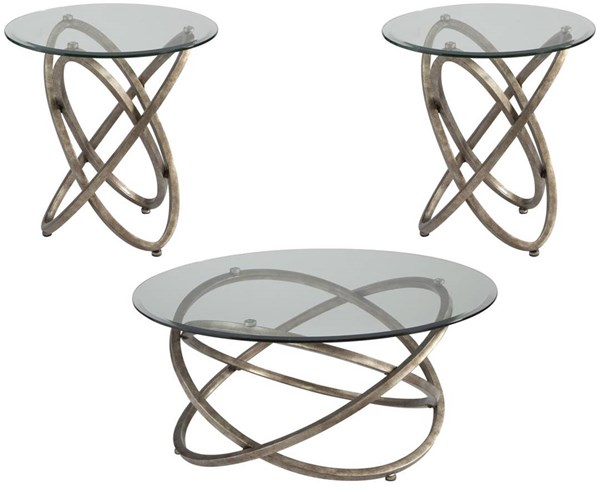 Escala Modern Champagne Metal Glass 3pc Coffee Table Set MG-T3494-OCT-S1