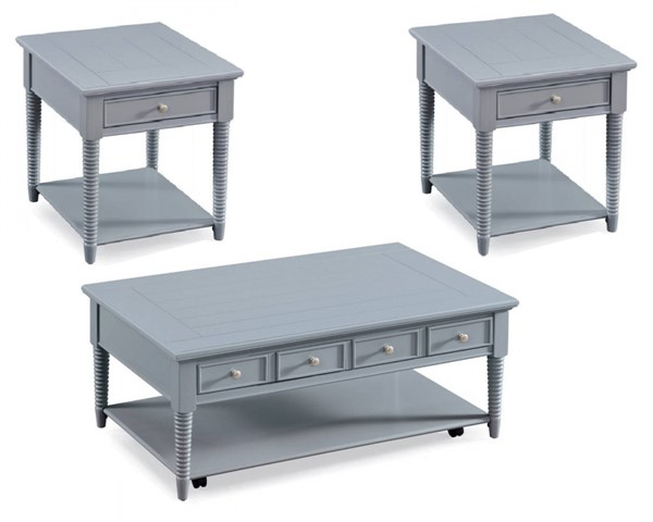 Becker Coastal/Cottage Grey Wood 3pc Coffee Table Set MG-T3499-OCT-S1