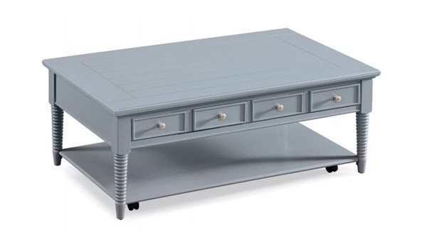 Becker Coastal/Cottage Grey Wood Rectangular Casters Cocktail Table MG-T3499-43