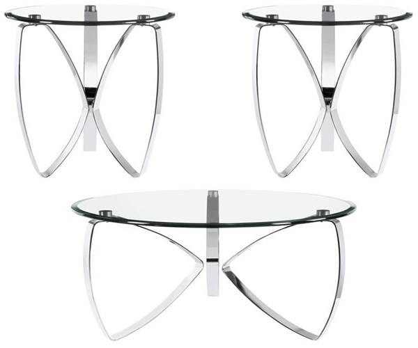 Nico Modern Chrome Glass 3pc Coffee Table Set w/Round Cocktail Table MG-T3507-OCT-S1