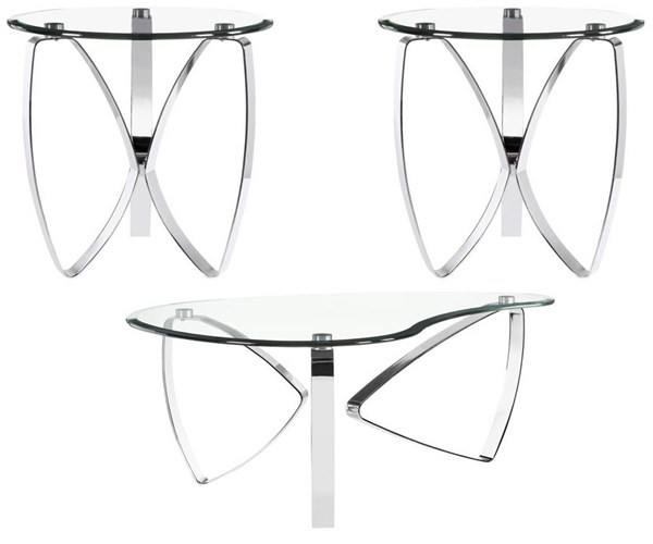 Nico Modern Chrome Glass 3pc Coffee Table Set w/Shaped Cocktail Table MG-T3507-OCT-S2
