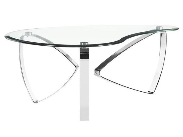 Nico Modern Chrome Metal Glass Shaped Cocktail Table MG-T3507-62