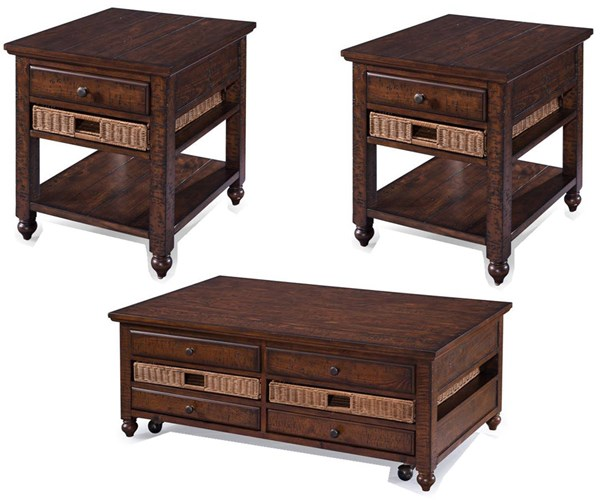 Cottage Lane Coffee Wood Coffee Table Set MG-T3521-OCT