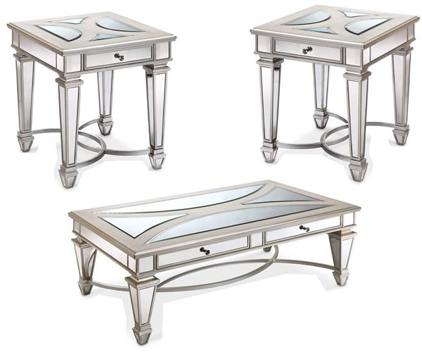 Novella Modern Chalk Wood Metal Glass 3pc Coffee Table Set MG-T3523-OCT-S1