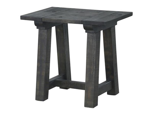 Bridgewater Coastal/Cottage Charcoal Wood Rectangular End Table MG-T3578-03