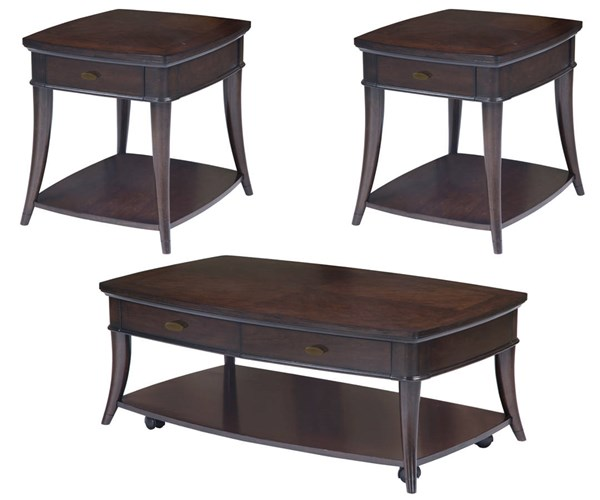 Avon Transitional Dark Cherry Wood 3pc Coffee Table Set MG-T3645-OCT-S1