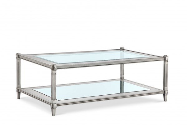 Platinum Traditional Silver MDF Wood Glass Rectangular Cocktail Table MG-T3671-43