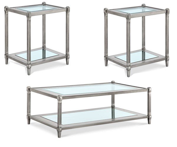 Platinum Traditional Silver MDF Wood Glass 3pc Coffee Table Set MG-T3671-OCT-S1