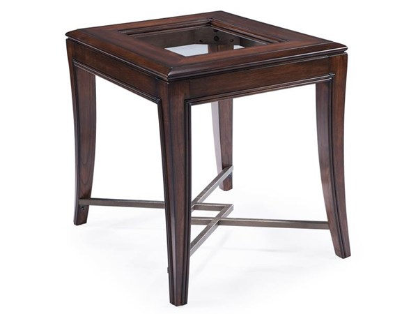 Acclaim Transitional Chestnut Wood Glass Metal Rectangular End Table MG-T3723-03