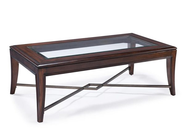 Acclaim Transitional Chestnut Wood Glass Rectangular Cocktail Table MG-T3723-43