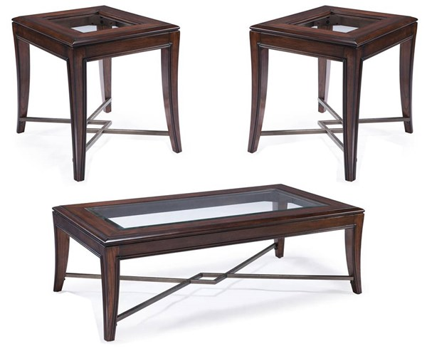 Acclaim Transitional Chestnut Wood Glass Metal Coffee Table Set MG-T3723-OCT