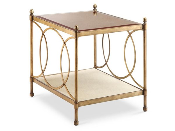 Trey Opulence Brushed Bronze Metal Mirror Rectangular End Table MG-T3725-03