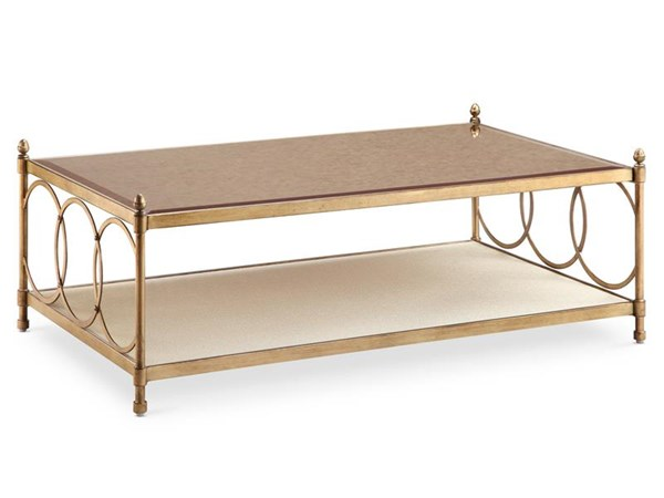 Trey Opulence Brushed Bronze Mirror Casters Rectangular Cocktail Table MG-T3725-43