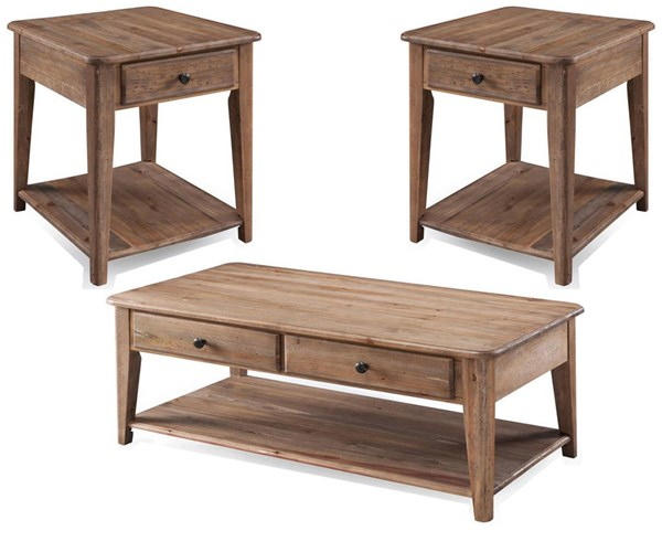 Baytowne Barley Wood 3pc Coffee Table Set w/Condo Cocktail Table MG-T3749-OCT-S1