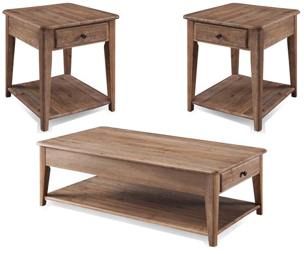 Baytowne Barley Wood 3pc Coffee Table Set w/Lift-Top Cocktail Table MG-T3749-OCT-S2
