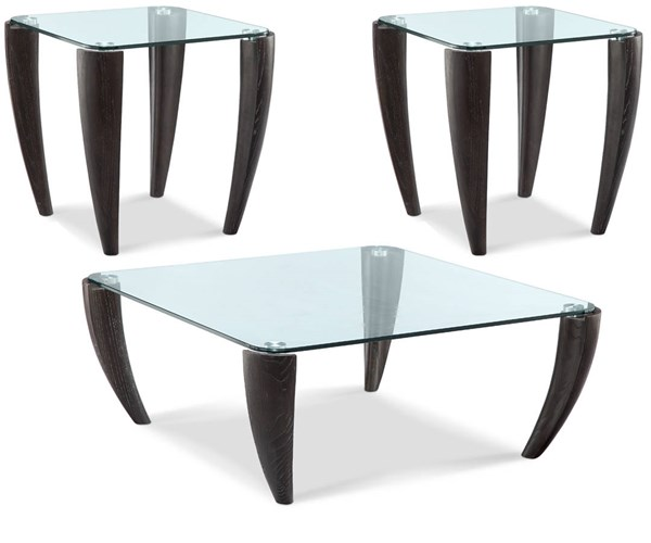 Ebony Modern Wood Glass 3pc Coffee Table Set w/Square Cocktail Table MG-T3766-OCT-S1