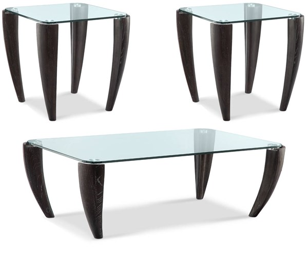 Ebony Wood Glass 3pc Coffee Table Set w/Rectangular Cocktail Table MG-T3766-OCT-S2