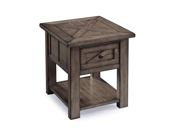 Garrett Cottage Weathered Charcoal Metal Wood Rectangular End Table MG-T3778-03