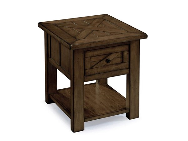 Fraser Rustic Pine Wood Metal Wood Rectangular End Table KD MG-T3779-03