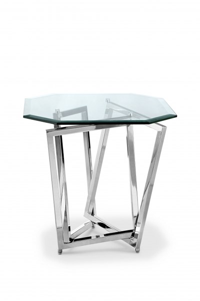 Lenox Square Modern Nickel Metal Glass Octagonal End Table MG-T3790-09