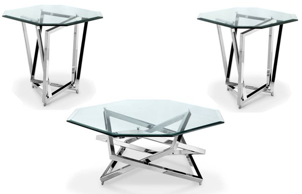 Lenox Square Modern Nickel Metal Glass Coffee Table Set MG-T3790-OCT