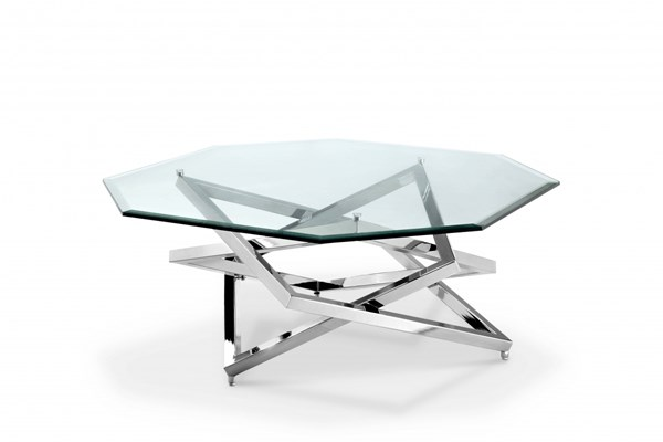 Lenox Square Modern Nickel Metal Glass Octagonal Cocktail Table MG-T3790-49